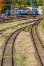 Overgrown tracks with old wooden planks and wagons, Loebau, Saxony, Germany Royalty Free Stock Photo
