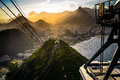 Overhead cable car approaching sugarloaf mountain rio de janeiro brazil Stock Photo