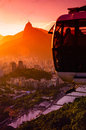 Overhead cable car in motion at dusk sugarloaf mountain rio de janeiro brazil Stock Images