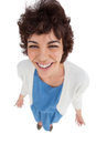 Overhead of cheerful woman standing alone on white background Royalty Free Stock Image
