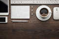 Overhead of essential office objects in order with Royalty Free Stock Photo