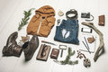 Overhead of essentials adventurer man still life casual Stock Photo