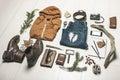 Overhead of essentials adventurer man still life casual Stock Photo