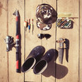 Overhead of essentials for fisherman. Fshing tackle and equipmen Royalty Free Stock Photo