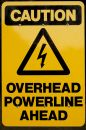 Overhead Powerline Ahead Stock Images