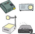 Overhead projectors various and digital over white background Royalty Free Stock Photo