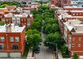 Overhead Residential Street View in Lincoln Park Chicago Royalty Free Stock Photo
