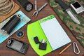 Overhead Travel Trip Backpacking Necessary Items On Wood Table