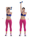Overhead Triceps Extensions with Dumbbell Royalty Free Stock Photo