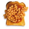 Overhead view of beans on toast isolated path Royalty Free Stock Images