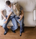 Overhead View of Couple on Love Seat Royalty Free Stock Photo