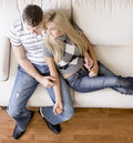 Overhead View of Couple on Love Seat Stock Photo
