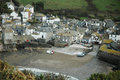 Overhead view of port isaac from up high in moody weather Royalty Free Stock Images