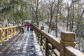 Overhead walkways after snow this photo was taken in purple mountain nanjing city jiangsu province china Stock Images