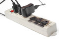 Overheat surge protector caught on fire due to Stock Image