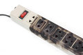 Overheat surge protector caught on fire due to Royalty Free Stock Images
