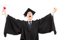 Overjoyed college graduate holding a diploma and gesturing happi happiness isolated on white background Stock Photography