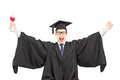 Overjoyed male student celebrating his graduation Royalty Free Stock Photography