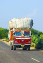 Overland bus at the Jodhpur Highway in Rajasthan, India Royalty Free Stock Photo