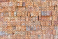 Overlapping bricks material for masonry Royalty Free Stock Images