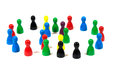Overlapping circles multi colored pawns standing in Royalty Free Stock Image