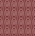 Overlapping concentric oval patterns on dark red background, seamless vector, classic geometric ornament