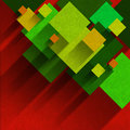 Overlapping squares velvet background of yellow orange and green on red with shadows Stock Photography