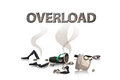 Overload man split tired businessman with body apart on white background business concept Stock Images