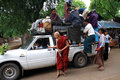 Overloaded pick-up in Bagan, Myanmar Stock Image