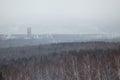 Overlook on city in the winter afternoon krfsnoyarsk Royalty Free Stock Photo