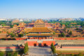 Overlook the forbidden city in evening was built it remain intact through ming and qing dynasty both Royalty Free Stock Image