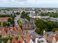 An overlook of luebeck in germany a panoramic view from the tower the st petri church over lubeck with the holsten gate and the Stock Photos