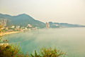Overlook repulse bay in fog the photo was taken hongkong china Stock Image