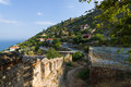 Overlooking the Mediterranean Sea and the edge of a hill with houses Royalty Free Stock Photo