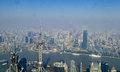Overlooking shanghai city panoramic view of pudong new area huangpu river puxi area jinmao tower and the oriental pearl Stock Photos
