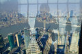 Overlooking shanghai city panoramic view of pudong new area huangpu river puxi area jinmao tower and the oriental pearl with Stock Photos