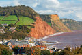 Overlooking sidmouth devon england view down on to uk europe Royalty Free Stock Photography