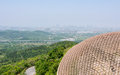 Overlooking the top of the fouding buddha top palace like cassock and lotus throne this photo was taken in niushou cattle head Stock Images