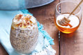 Overnight Oats, Bananas and Chia Seeds Royalty Free Stock Photo