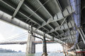 Overpass by hudson river from below transport infrastructure in manhattan new york usa Stock Photos