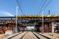 Overpass under railways construction in russia Royalty Free Stock Photography