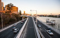 Overpasses with cityscape of brisbane city australia july cbd in australia on a clear day Stock Photos