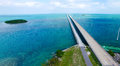 Overseas Highway aerial view on a beautiful sunny day, Florida Royalty Free Stock Photo