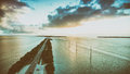 Overseas Highway bridge at sunset, aerial view Royalty Free Stock Photo