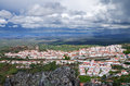 Overview of castelo de vide as seen from senhora da pena under an overcast heavy sky alentejo portugal Stock Images