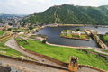 Overview of maota lake and royal garden of amber fort jaipur rajasthan Royalty Free Stock Image