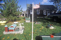 Overview of miniature farm with flag and village, New England Royalty Free Stock Photo