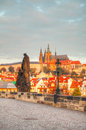 Overview of old Prague from Charles bridge side Royalty Free Stock Image