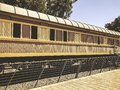 Overview of the rails and a wagon, in the old train station in Tel Aviv, Israel Royalty Free Stock Photo