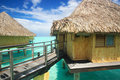 Overwater bungalow in bora bora Royalty Free Stock Photos